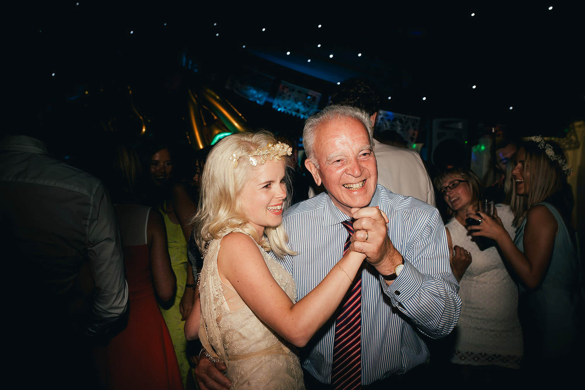 bride and granddad dancing.