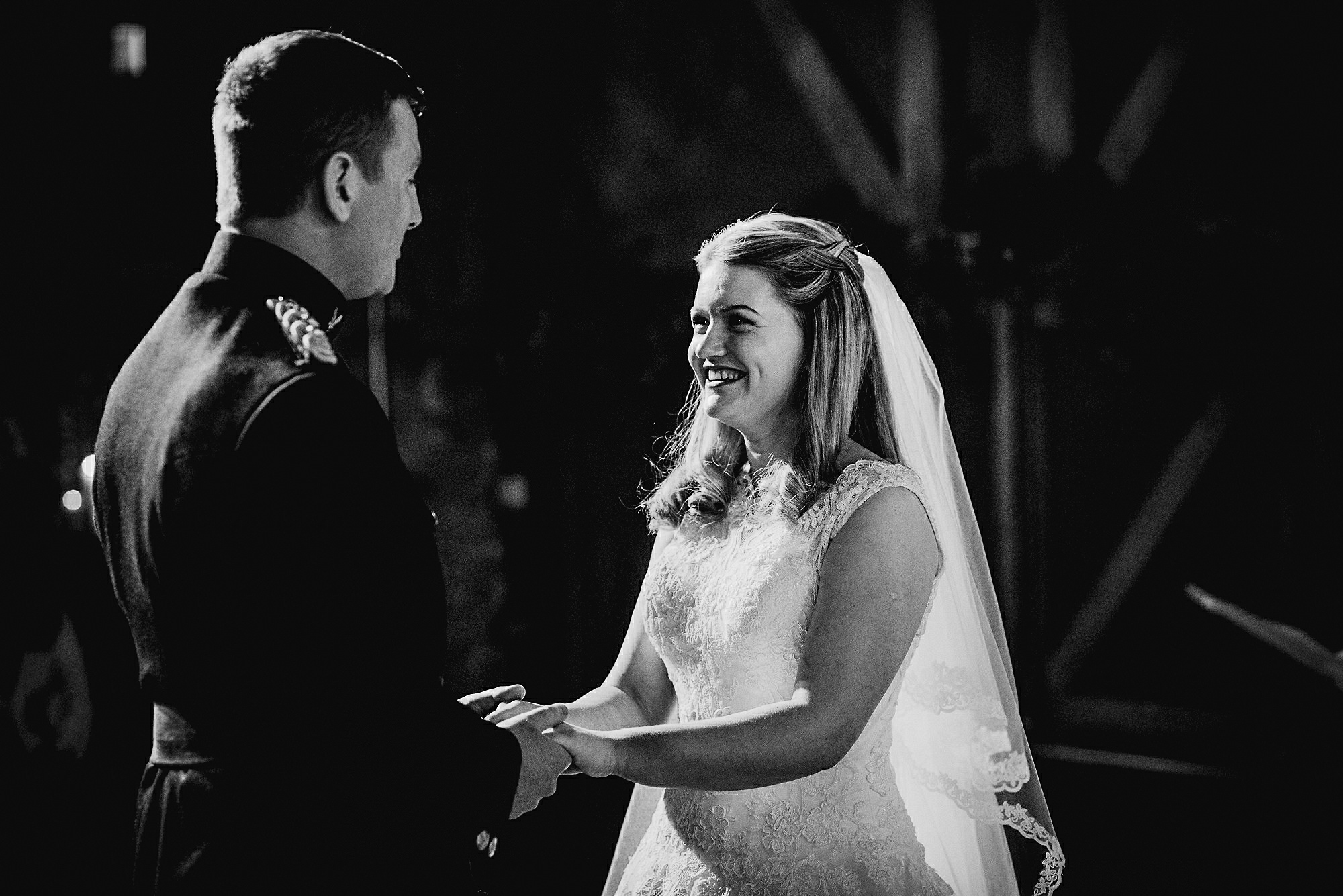 bride and groom barn wedding ceremony