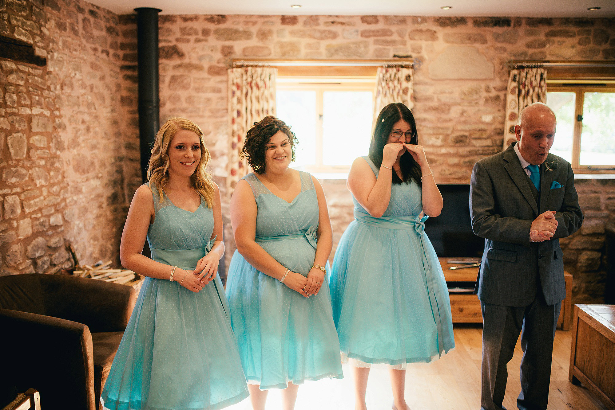 Happy emotional bridesmaids