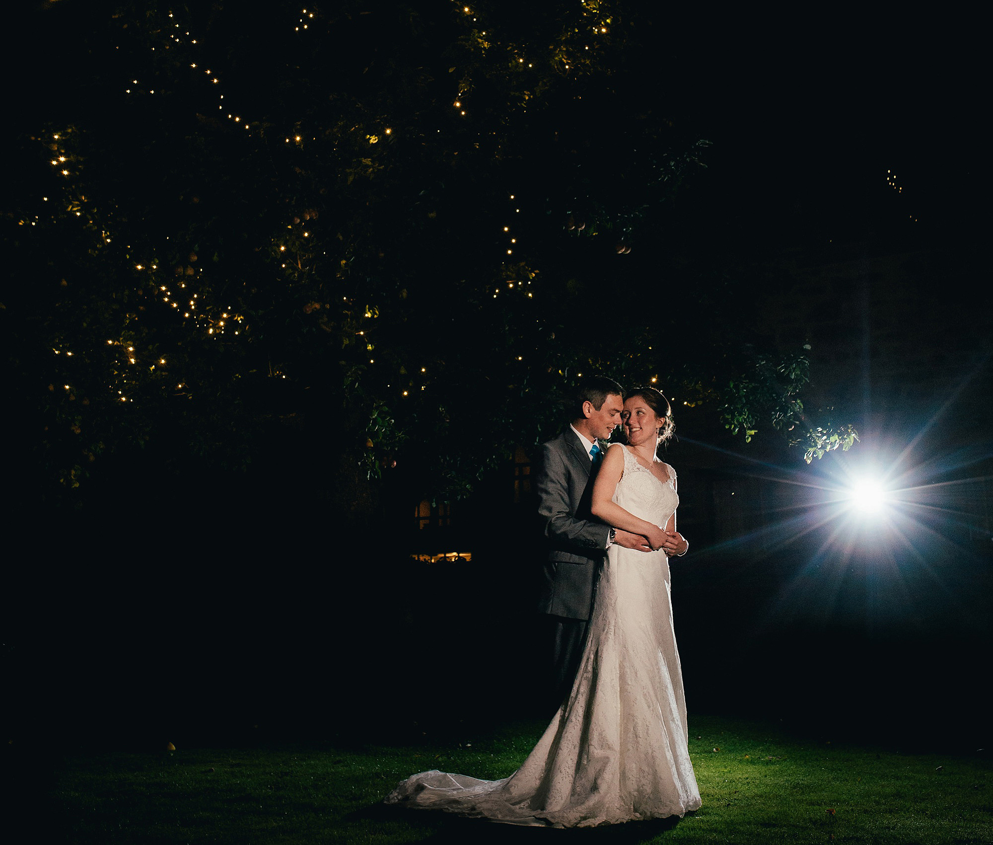 romantic bride and groom portrait at night