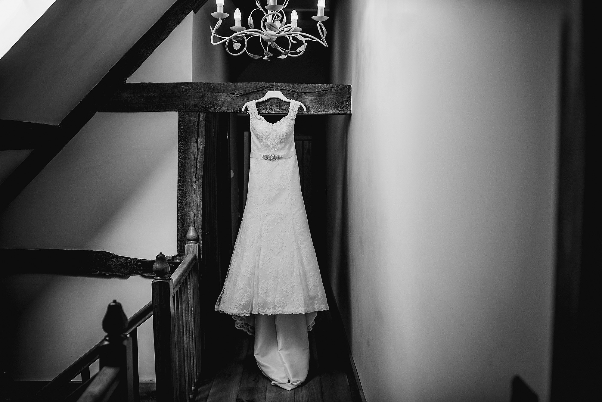 Wedding dress at Flanesford Priory