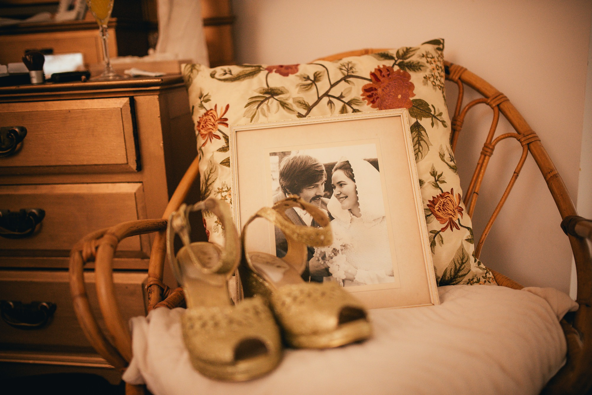 Bride Shoes and Vintage Wedding Photograph Parents