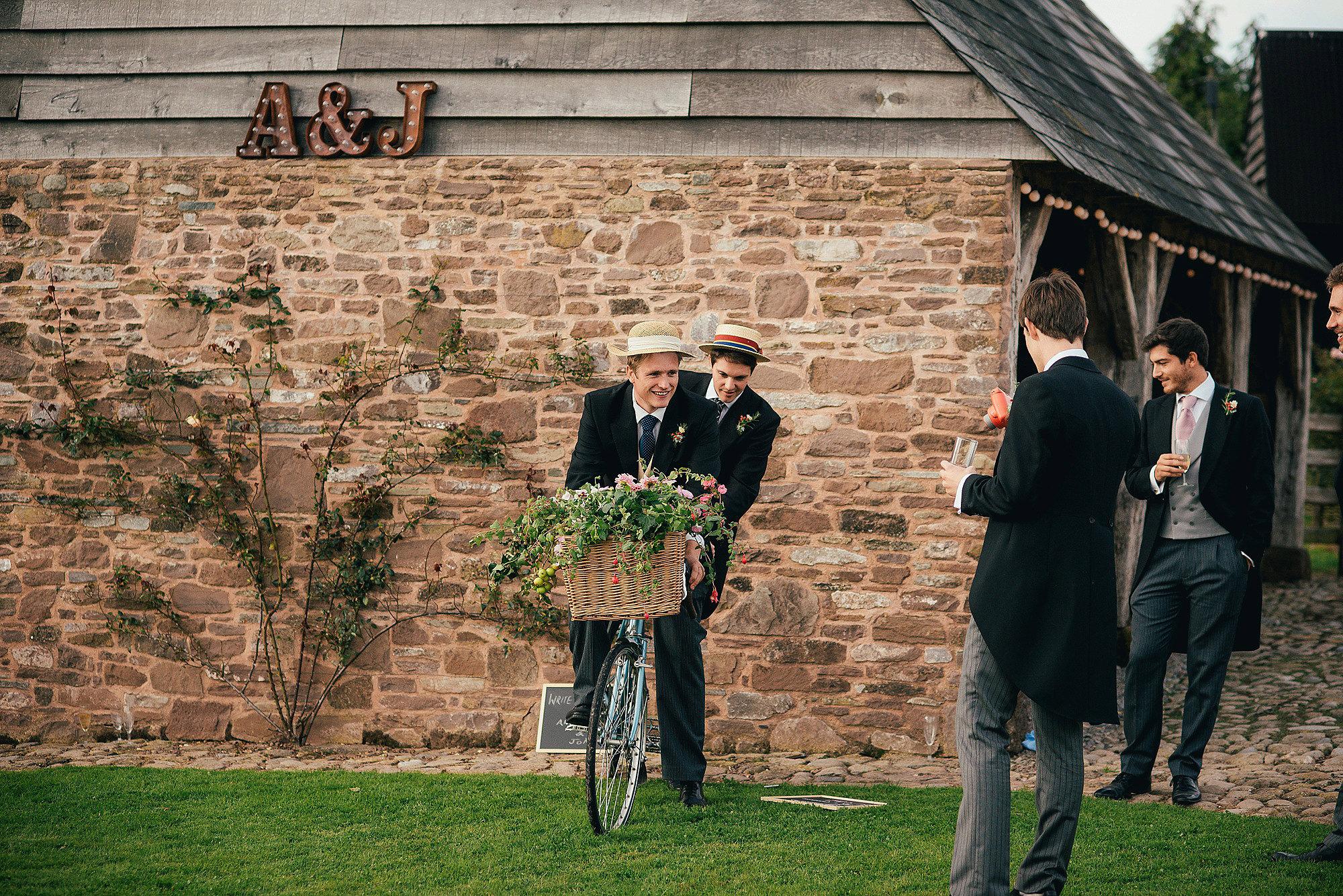 groomsman and tandem bike