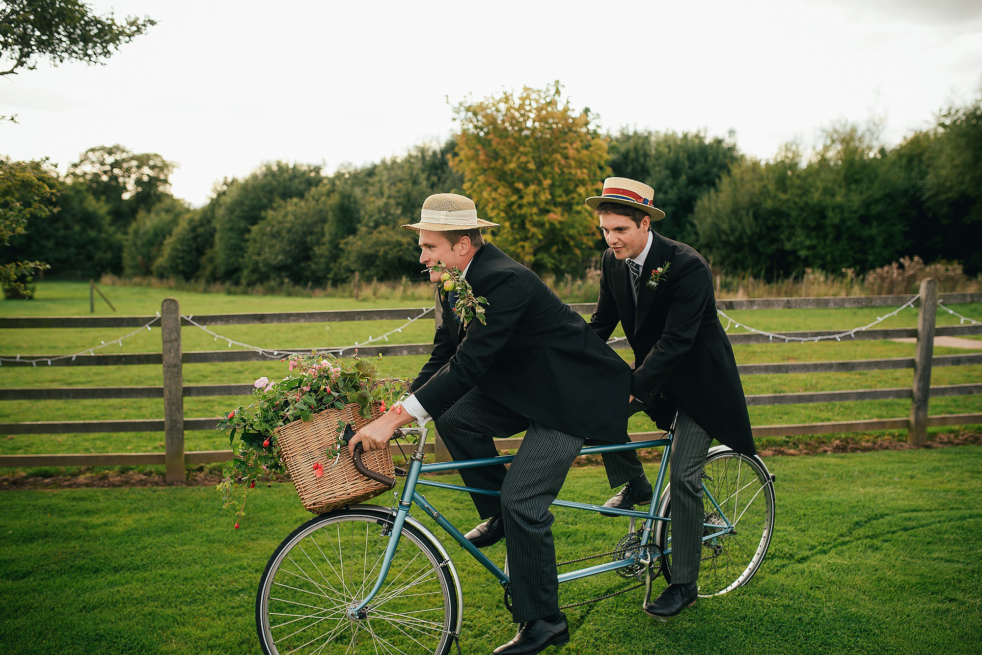 groomsman and tandem bike